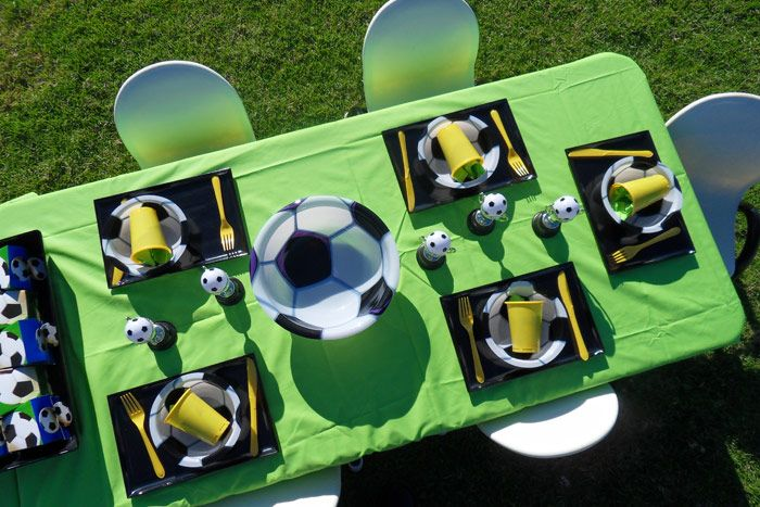 Great Soccer birthday party set up by Shoalhaven Kids Parties -  love the football bowl to hold your party snacks.
