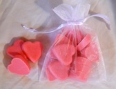 My Hand-made natural strawberry heart soap set. 12 small soaps in a white organza bag. http://www.glorydaysnaturals.com/shop-products.html