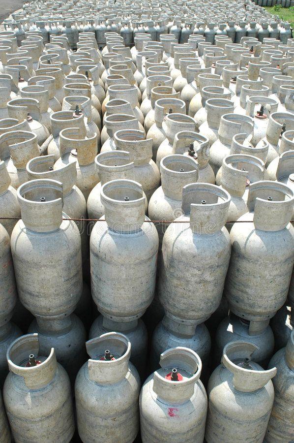 Gas bottles. Bottles of Liquid Petroleum Gas (LPG) in a