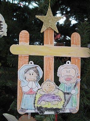 Grandma's Little Pearls: Nativity Ornament   adding--->pattern for cutouts http://www.makingfriends.com/biblecrafts/nativity_scene.htm