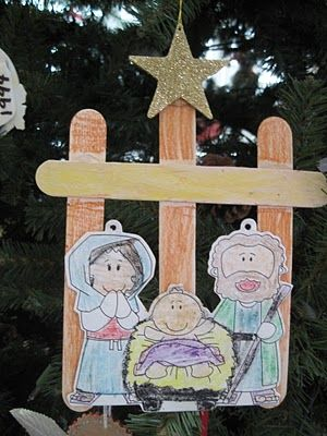 Grandma's Little Pearls: Nativity Ornament   adding--->pattern for cutouts http://www.makingfriends.com/biblecrafts/nativity_scene.htm