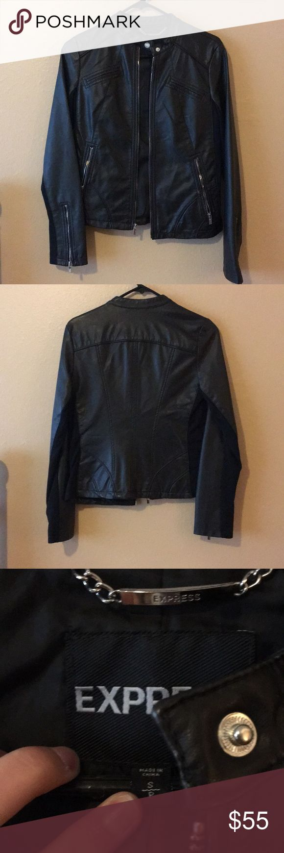 Express Black Faux Leather Jacket Express Black Faux Leather Jacket -Size Small -Took the tags off but has NEVER been worn -Excellent condition Express Jackets & Coats