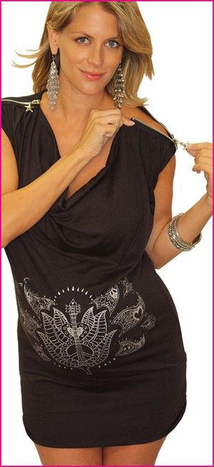 """LadyMaternity.com 's Rythum bump  Maternity Top is inspired by the vibrant colors of India. This peace, love & bump hand drawn tee is designed to make you feel stylish & sexy from bump and beyond.    Bling!! Versatile style. 3"""" band can be pulled down as a sexy tee-dress. Fun star zipper across shoulders allow easy breast-feeding  after your bundle of joy arrives. Found on Ladymaternity.com!"""