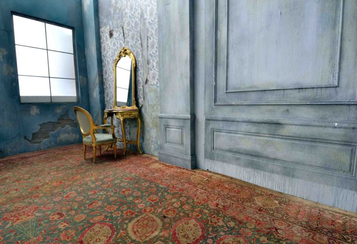 haunted mansion set with gilded mirror and antique furniture