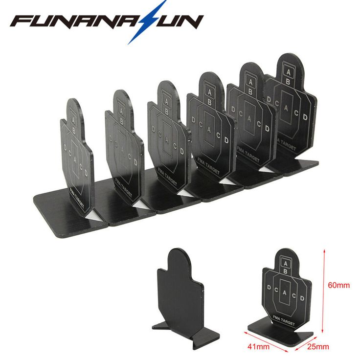 6pcs Shooting Target Airsoft Metal Shooting Target Set Arrow Shooting Practice Board Small Person Shape Black Target