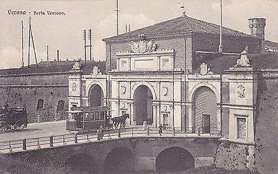 8434) Verona Porta Vescovo, Tram A Cavalli E Diligenza.