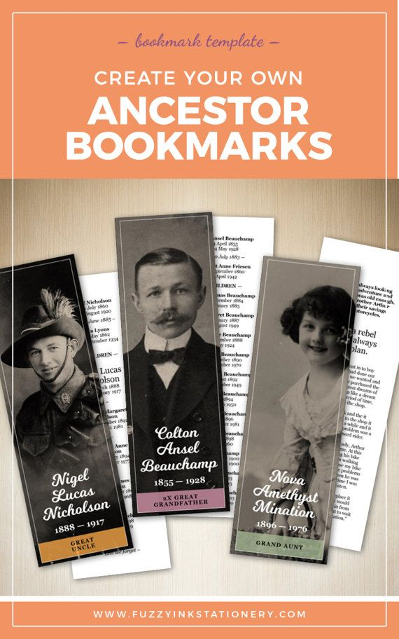 Printable ancestor bookmark template. Create unique keepsakes with a photo and family tree | INSTANT DOWNLOAD