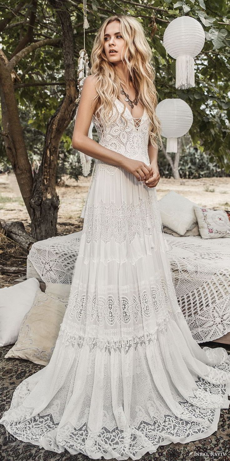inbal raviv 2017 bridal sleeveless deep v neck full lace embellishment bohemian …