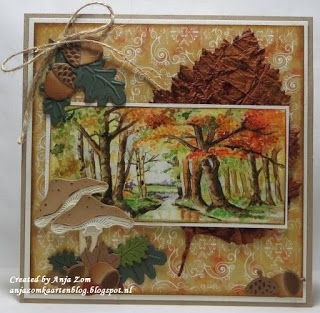 Card made by DT member Anja she used the  LR0372 Mushrooms LR0373 Acorn With Leave LR0375 Tiny's Tree  IT579 Knipvel Autumn PK9121 Pretty Papers Bloc Shabby Chic