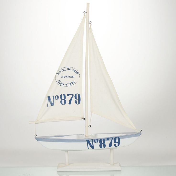 This sailboat is made from wood which has been pained white and light blue. No 879 in also in large numbers. This can easily be fixed with a little sanding and fresh coat of paint. New, never displayed or used sailboat decoration. | eBay!