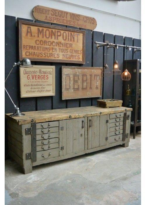 Etabli d'atelier, déco vintage industrielle, brocante