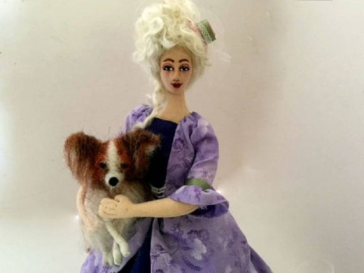 Marie Antoinette cloth art doll needle felt Papillon dog poseable wire armature by ConchyGemDolls on Etsy