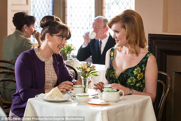 Simmering sexual tension: The show also addresses the will-they, won't-they relationship between fiery red-headed nurse Patsy Mount (Emerald Fennell) and the cheeky paramedic Delia Busby (Kate Lamb), pictured