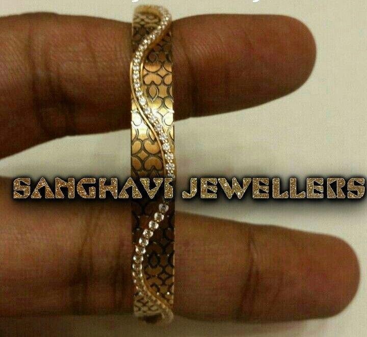 Swarovski studded 22ct bangle for more pin me@sanghaviraj01@gmail.com