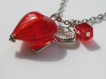 Key to My Heart - Charm Necklace with Silver Key and Large Red Heart - I Love YOU - on Chain - Ready to Ship N098
