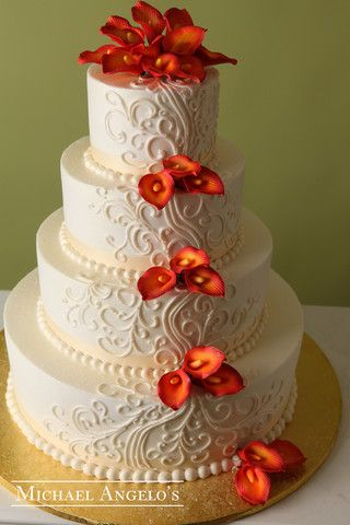 Ornate Swirls & Calla Lillies #15Classic by Michael Angelo's Bakery   Michael Angelo's Bakery