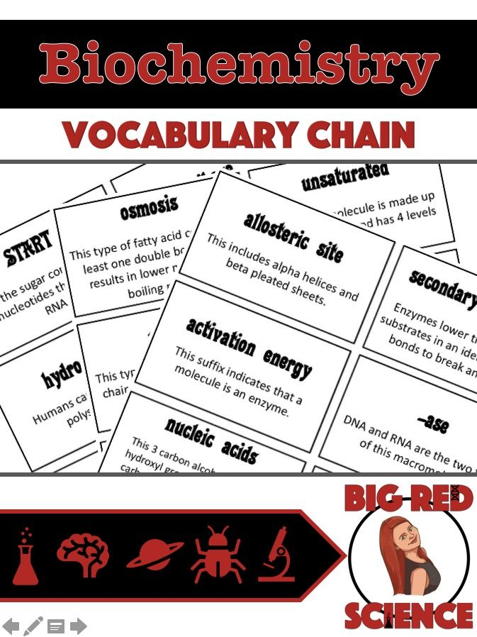 Biochemistry Warm Up Game I Have Who Has Vocabulary Chain