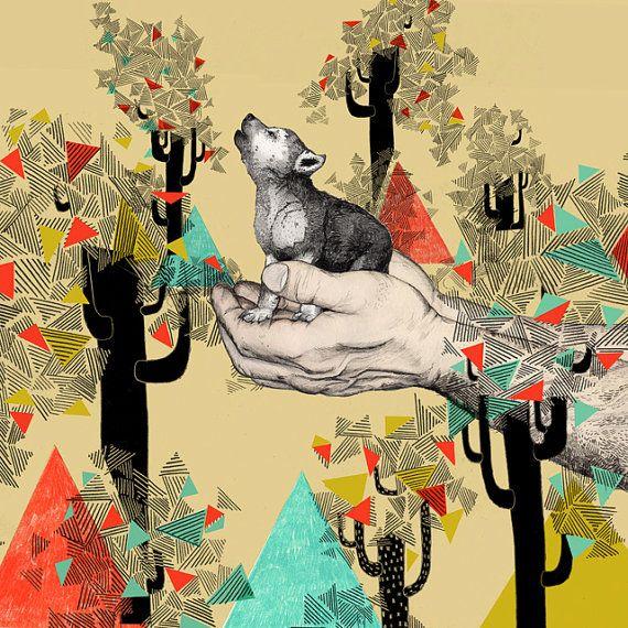 "Sandra Dieckmann ""Found You There"" printBaby Wolves, Sandradieckmann, Dogs Art, Illustration, Art Prints, Colors Palettes, Baby Room, Sandra Dieckmann, Pets Art"