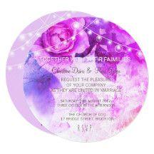 Subtle violet roses, wedding invitation set