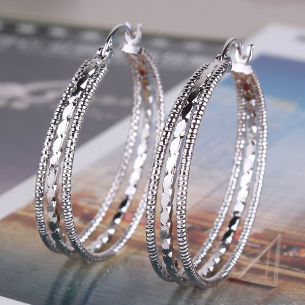 GULICX 2016 Мода Преувеличивать Большие Серьги для Женщин 18 К Позолоченные Earing Большой Три Круга Серьги Свадебные Ювелирные Изделия E407