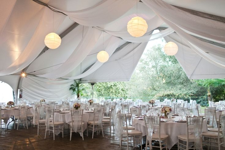 White Wedding Decor - Tent & Lanterns