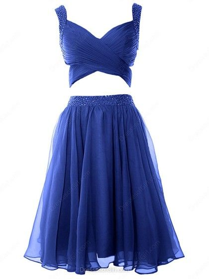 A-line V-neck Chiffon Knee-length Beading Inexpensive Prom Dresses