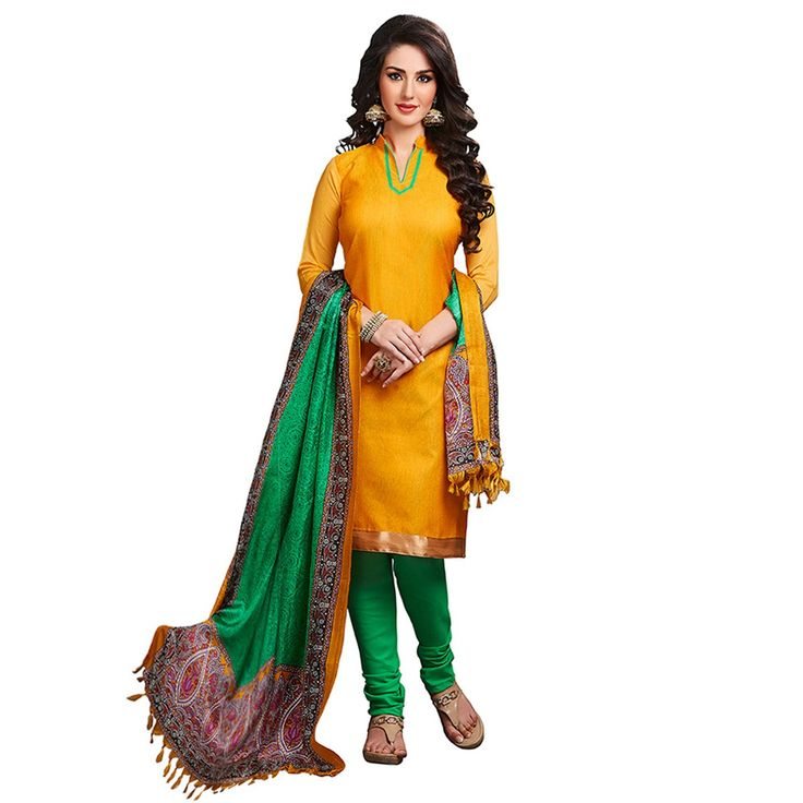 Banglori+Silk+Lace+Work+Yellow+Plain+Unstitched+Churidar+Suit+-+Z3006 at Rs 540