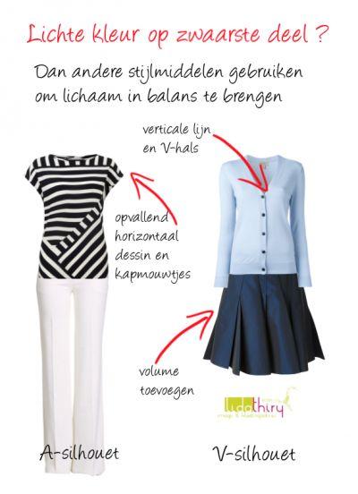 Wil je een lichte kleur op het zwaarste deel van je lichaam dragen? Dan kun je andere #stijlmiddelen gebruiken om je lichaam in balans te brengen - www.lidathiry.nl #kledingstijl #harmonieusuiterlijk