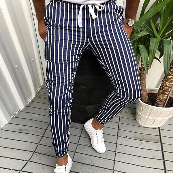 Pantalones Casuales De La Moda De Colorblock De Rayas Hombres Delgados Moda Ropa Hombre Ropa De Moda Hombre Ropa Casual Hombres