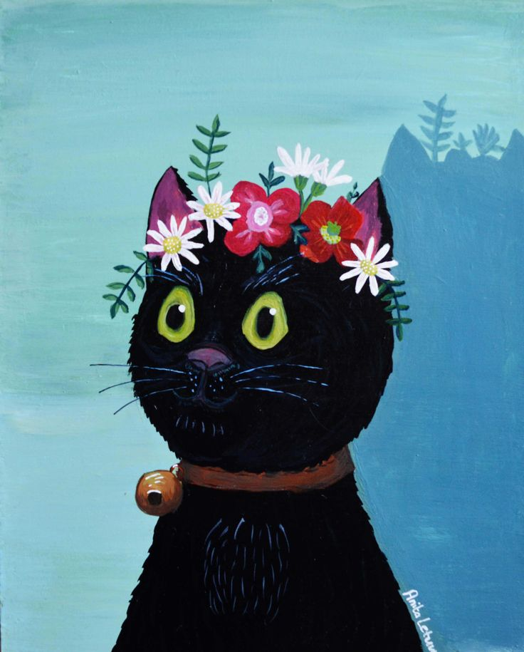 FRIDA CATHLO - cat with flower crown - black cat painting. Big eyed cat.