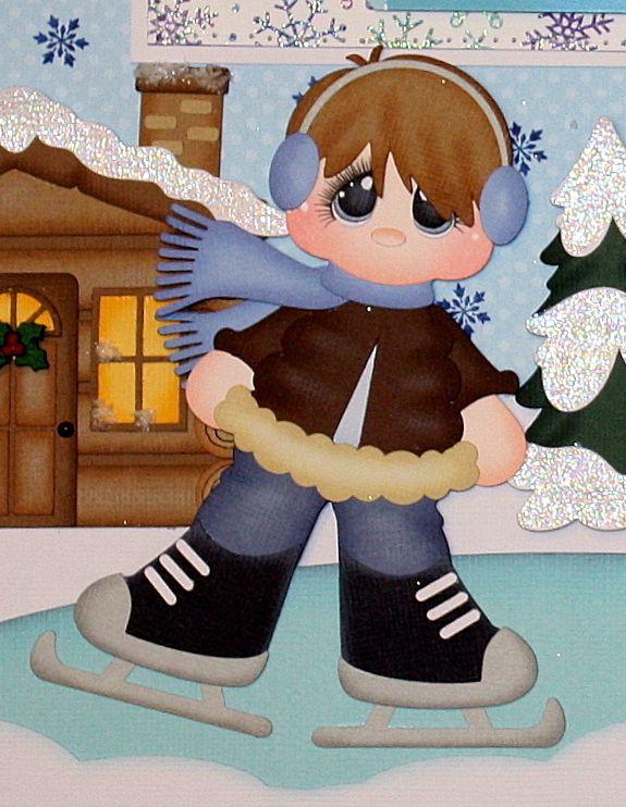 ELITE4U JULIE WINTER CHILD premade scrapbook layout pages album paper piecing