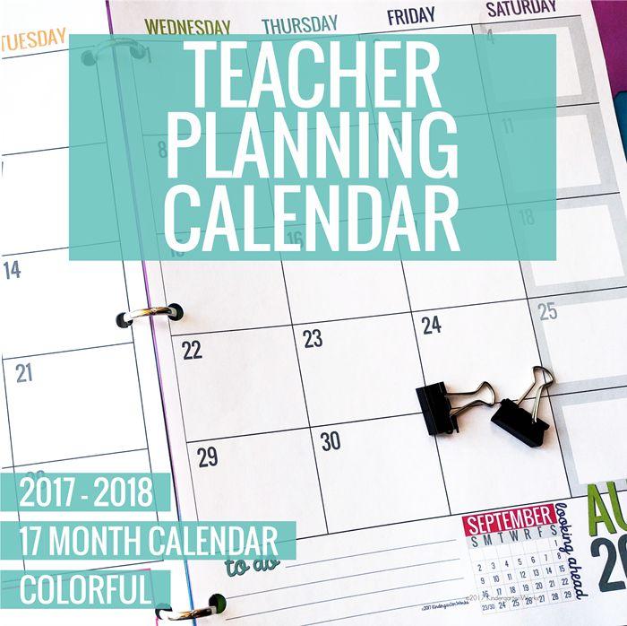 Colorful Teacher Planning Calendar