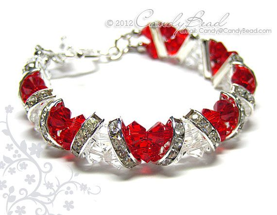 Swarovski Bracelet, Sweet Red and White Crystal Cuff Bracelet by CandyBead