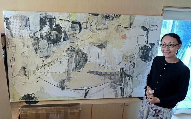 Mayako Nakamura's Studio Visit ( With Large Painting)   Flickr - Photo Sharing!