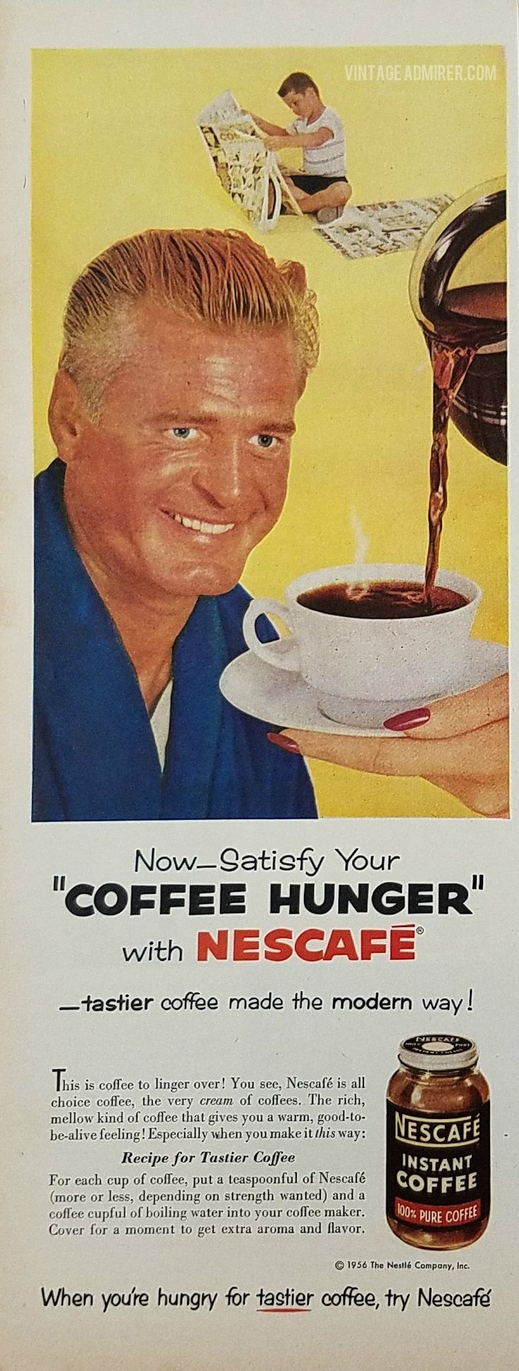 1956 Nescafe Instant Coffee Vintage Ad - Woman pouring man cup of coffee