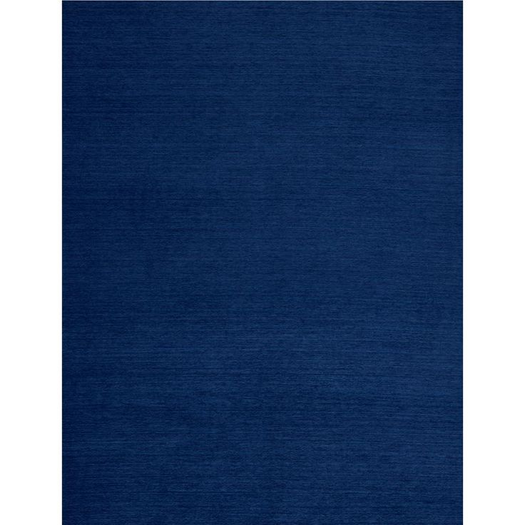 Solid Chenille Navy Blue 8 ft. x 10 ft. Pet Friendly 2-Piece Washable Area Rug System