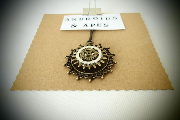 STEAMPUNK COG PENDANT handmade with antique brass and silver coloured metal parts on black washed chain great gift for Christmas by AndroidsandApes on Etsy