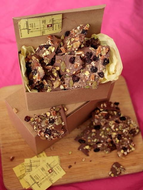 chocolate bark with dried fruit and nuts.