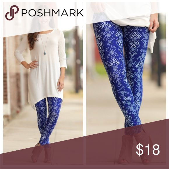 🆕Boutique Cobalt Blue Aztec Print Leggings🌺 Boutique Cobalt Blue Aztec Print Leggings. One Size (fits most size 2-12 comfortably). Super soft and stylish leggings in deep cobalt blue color with light blue Aztec print!  Polyester 92%/Spandex 8%. Pairs perfectly with cream or white sweaters or tops (check out the rest of my closet for ideas)!  Welcome to Cbelle'sChic Boutique!  Questions welcome.🌺 Infinity Raine Pants Leggings
