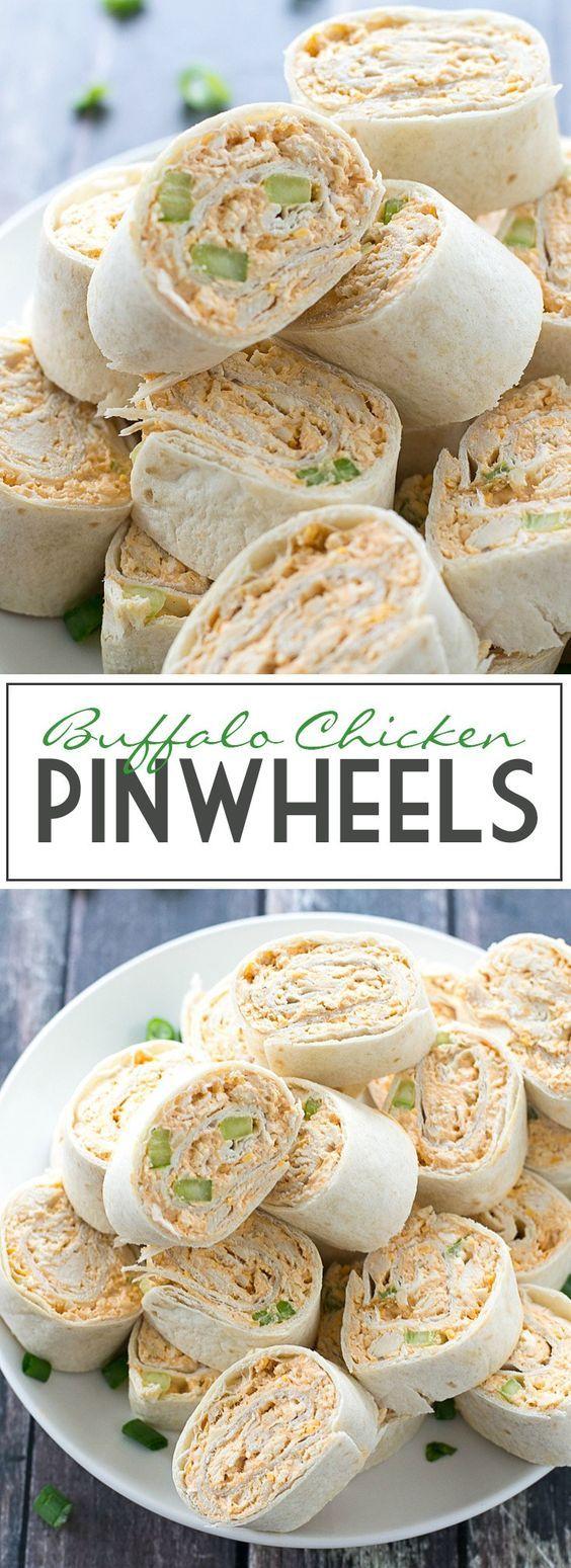 Buffalo chicken pinwheels receta wraps recetas - Aperitivos para baby shower ...