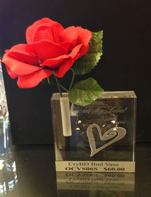 Crystal bud vase award, etched engraving, glass keepsake, unique award or memorabilia, more creative gifts available at www.louscalias.com #vaseaward