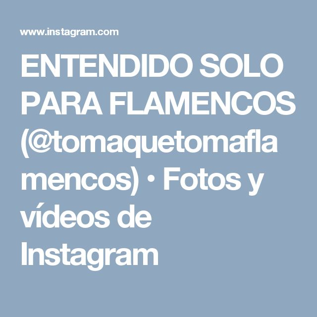 ENTENDIDO SOLO PARA FLAMENCOS (@tomaquetomaflamencos) • Fotos y vídeos de Instagram