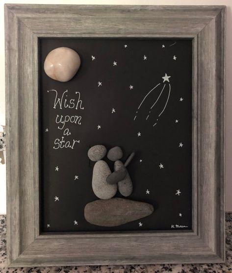 Wish upon a Star pebble art, Child's room rock art, baby gift
