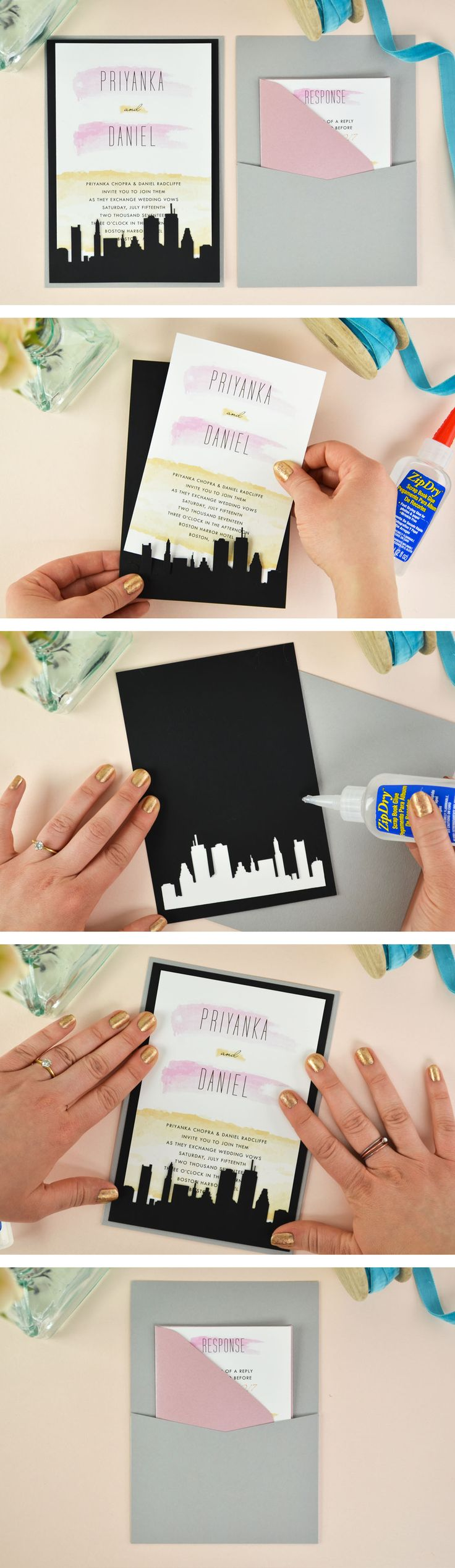 A super easy and affordable DIY laser cut wedding invitation! See how to use Cards and Pockets laser slide-in cards to dress up a simple wedding invitation. Cityscape card comes in six different designs. Click through for the tutorial and link to this free wedding invitation template.