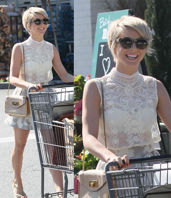 Julianne Hough Shows Off Her New Pixie Cut in a Sheer Lace Top