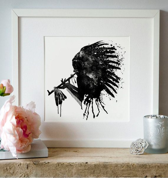 Black and White Native American Chief Silhouette by Artsyndrome