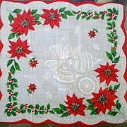 Vintage POINSETTIAS Holly & Christmas Ornament Embossed Print CHRISTMAS Hanky, Circa 1940s! Mi