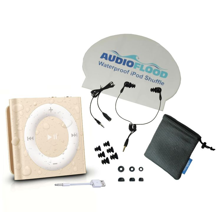 Waterproof Apple iPod Shuffle by AudioFlood with True Short Cord Headphones - Highest Rated Waterproof MP3 Player on Amazon