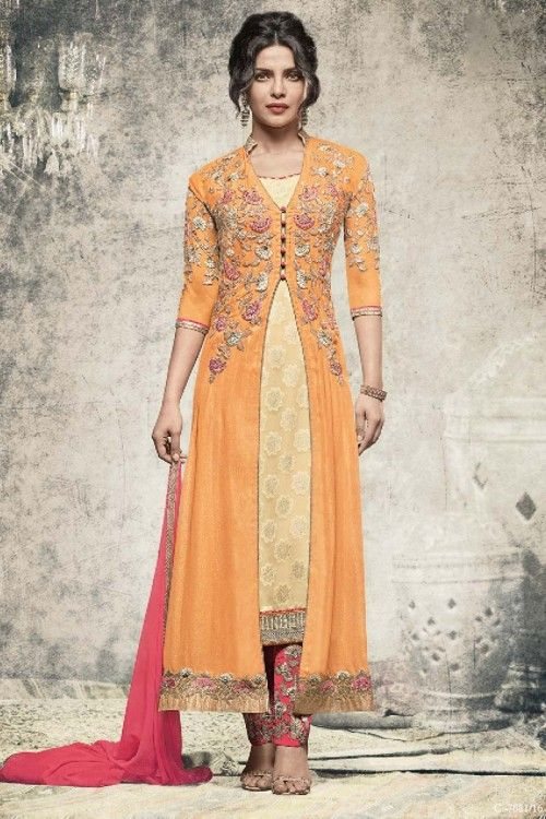 Priyanka Chopra Bollywood Orange Georgette Trouser Suit With Dupatta Online visit: http://www.andaazfashion.co.uk/bollywood-trouser-suits
