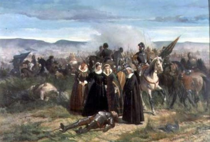 May 13, 1568, Mary Queen of Scots's forces are defeated at the Battle of Langside -'Mary Queen of Scots and the Battle of Langside', painting by Giovanni Fattori-